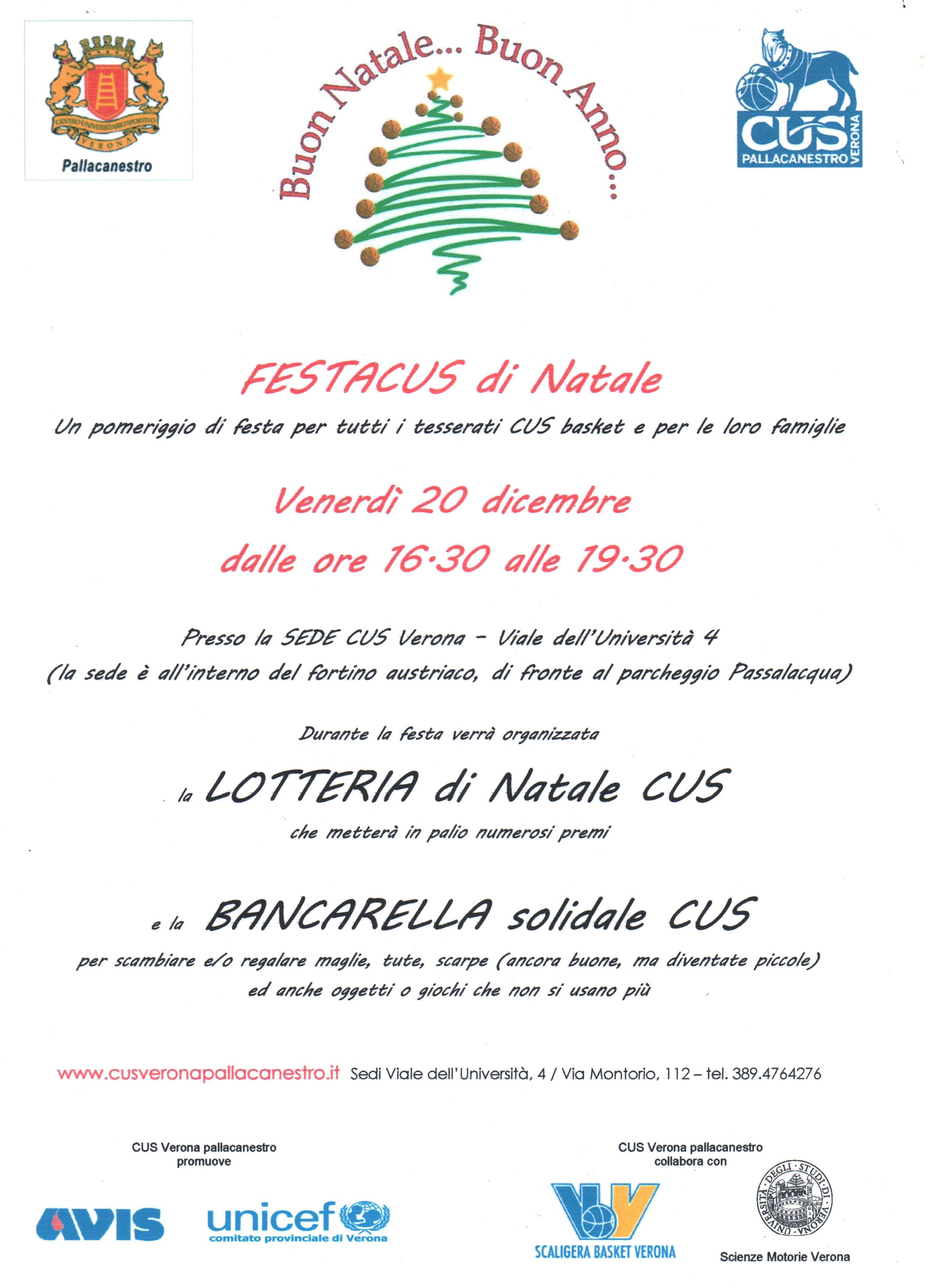 Biglietti Di Natale Unicef 2020.Festacus Di Natale Cus Verona Pallacanestro Sito